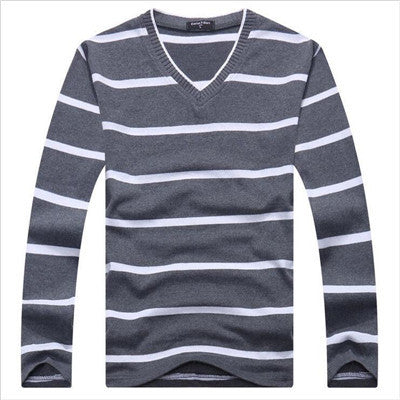 Basic V neck stripe pullover