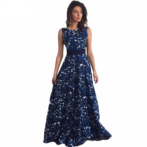 Blue Floral Print Sleeveless Long Party Dress
