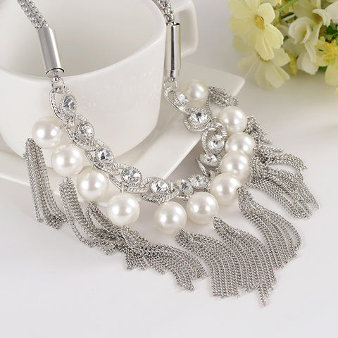 Big simulated Pearl Necklace