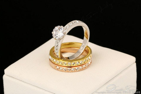 Anti Allergy 3 Rounds Diamond Paved Engagement Rings