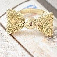 New Fashion gold plated color Exquisite Noble Cute Bow ring