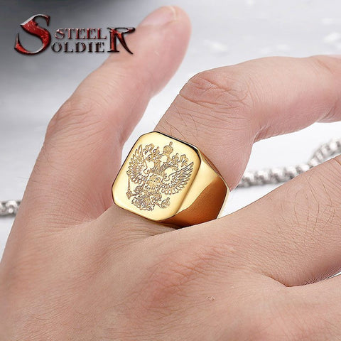 Steel soldier double eagle rings