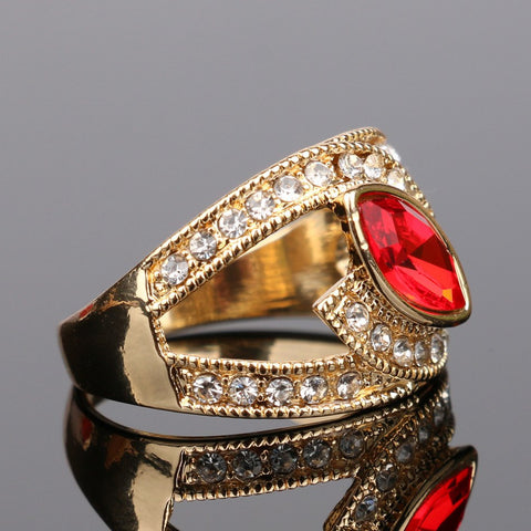 Top Fashion Red Gold Plated Crystal Ring