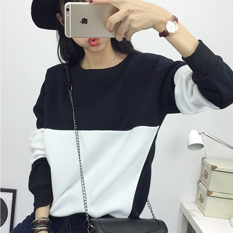 New Fashion Black and White Spell Color Hoodies