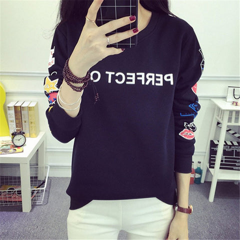 New Fashion Round Neck Women Hoodies Long Sleeve