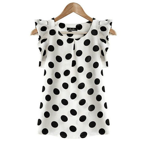 New Ladies Chiffon Puffed Short Sleeve Dot Print Tops