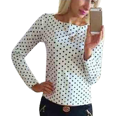 New Long Sleeve Tops Shirt Pullover Women Vogue Polka Dot O-Neck