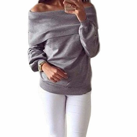 New winter casual Trendy strapless collar long-sleeved T-shirt