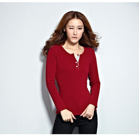 New Winter Elastic Sweater Women Slim Long Sleeve Top