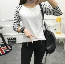 Plus Velvet Top Long Sleeve White/Black/Gray T-shirt