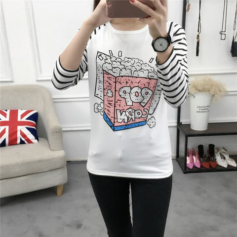 Striped Long Sleeves Women T-shirt