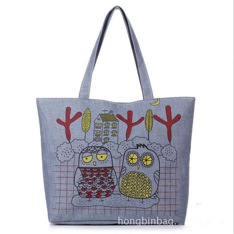 New Cartoon Owl Bag Canvas Women's Handbag