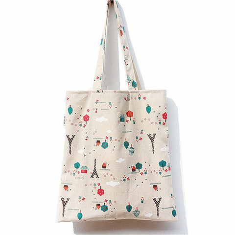 Simple Fresh Style Cotton Fabric Bag