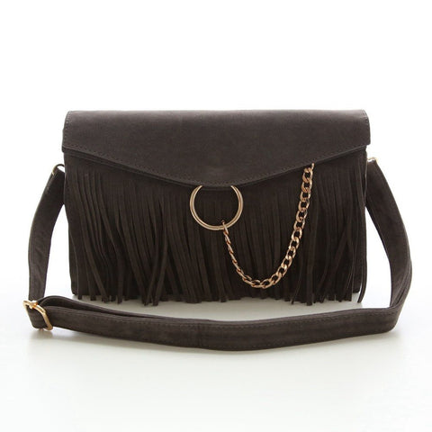 Suede Leather Envelope Bag Small Chain