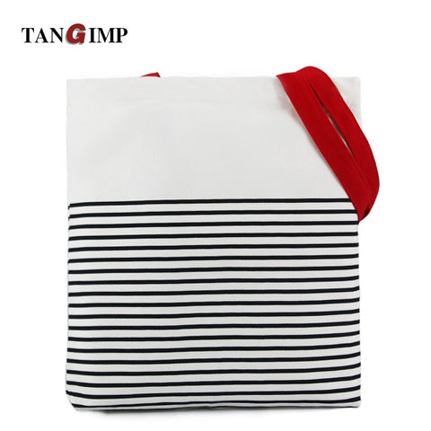 TANGIMP 2017 Striped Canvas Cotton Handbags