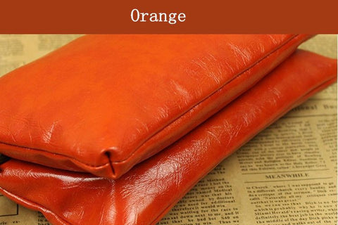 Vintage solid color pu leather women bag