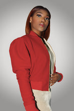 RED AYLA WOOL BOMBER JACKET