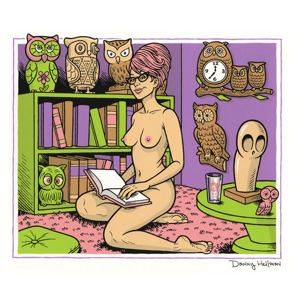 """Nude With Owls"" silkscreen print"