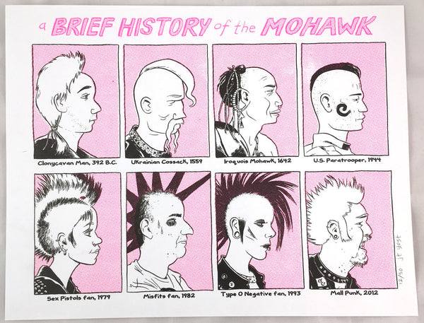 """A Brief History of The Mohawk"" risograph print"