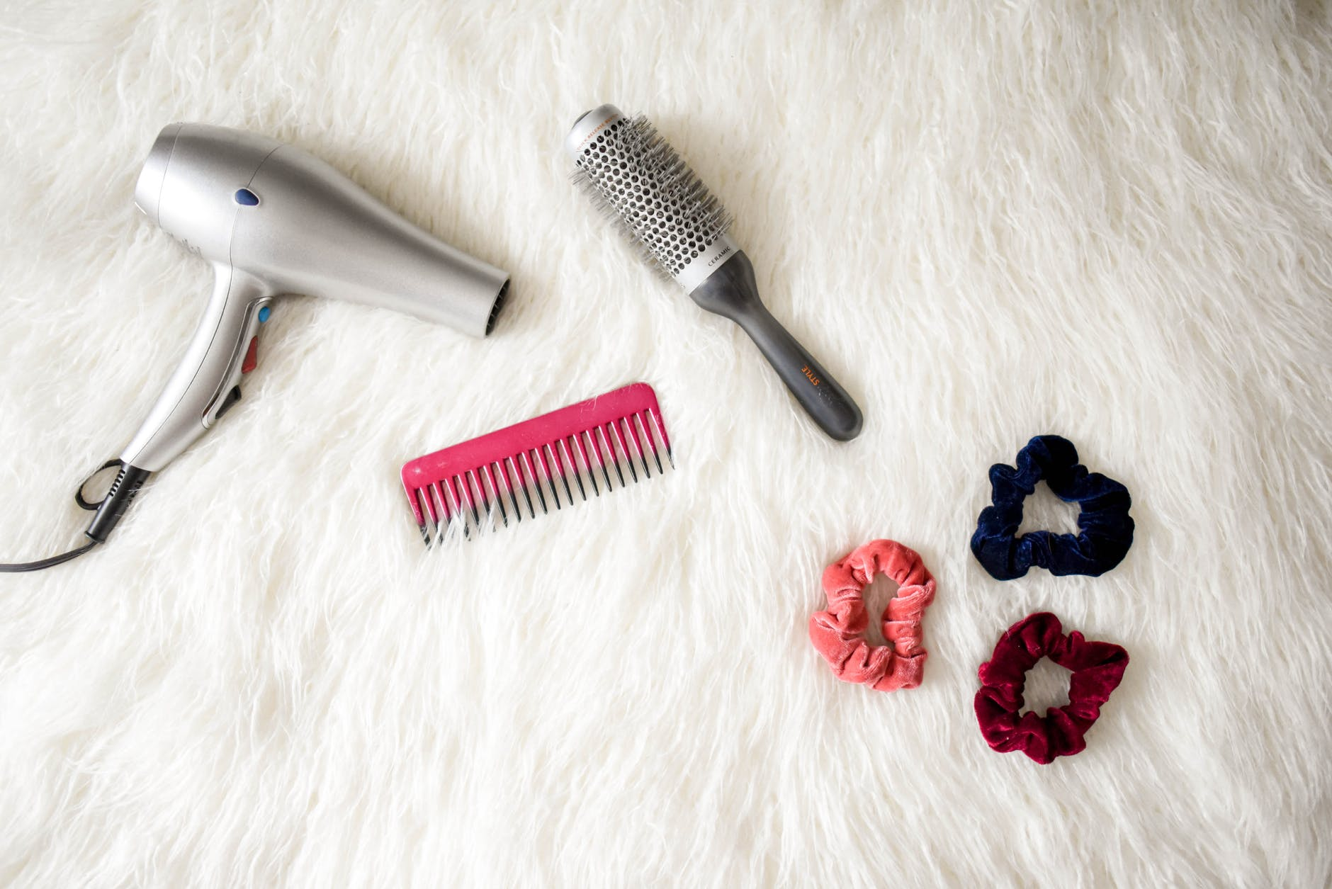 hair brush, scrunchies and other hair tools