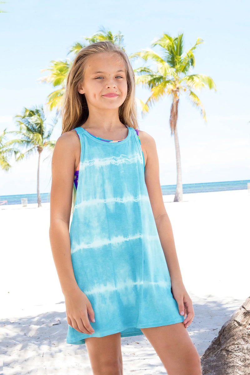 Emma - Tie Dye Turquoise Blue Swim Cover-Up