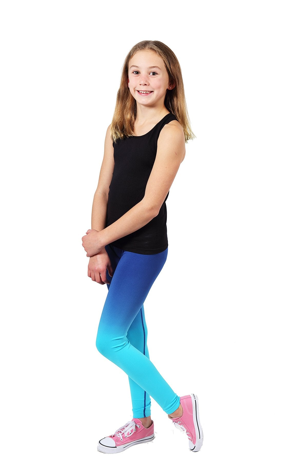 Seamless Basic Activewear Leggings - Navy / Turquoise