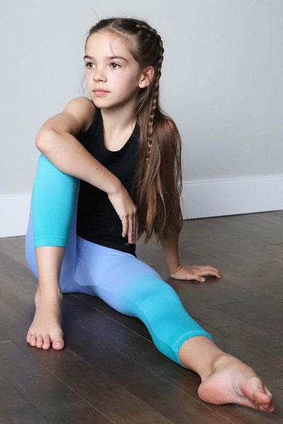 Girls Seamless Athletic Capris Leggings - Turquoise