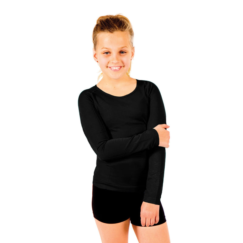 Seamless Activewear Long Sleeve Tops 2 Pack - Black and Light Pink