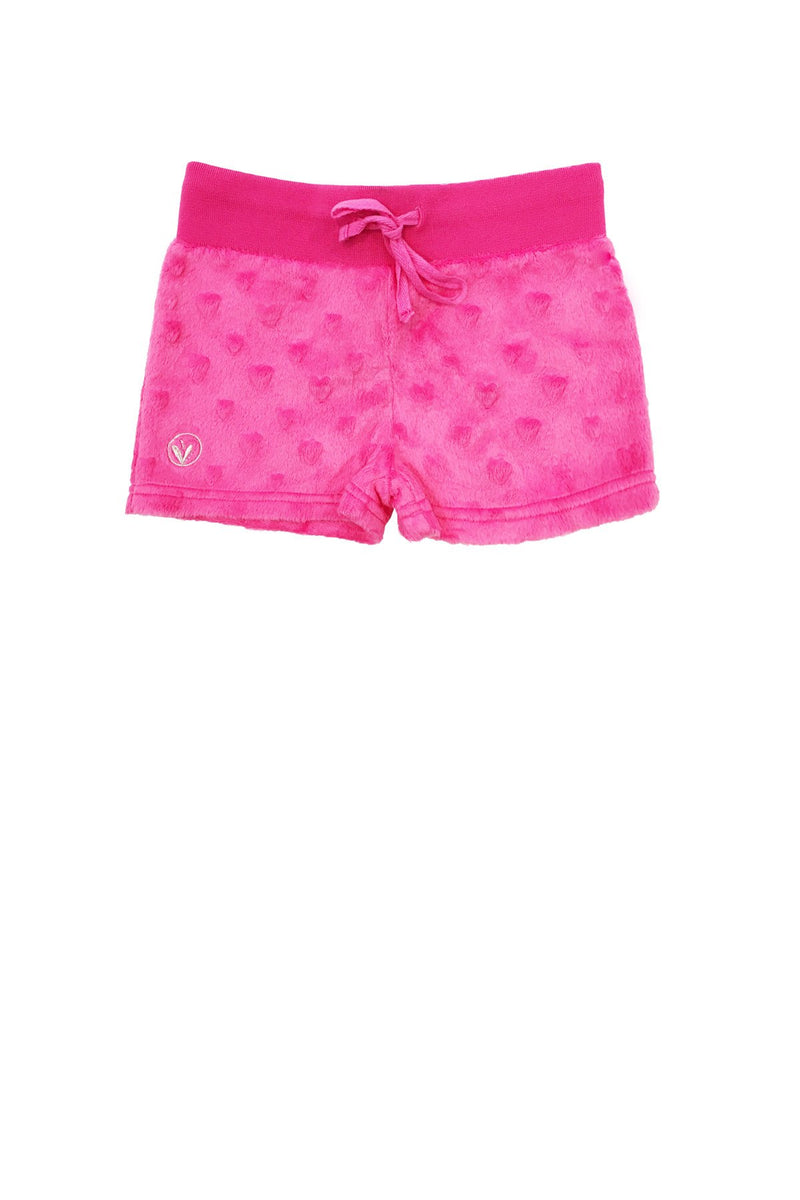 Girls Minky Hearts Shorts - Fuchsia by Limeapple