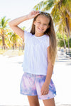 Smocked Multicolor Shorts - Cross over Detail