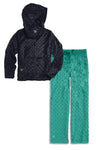 Minky Bubble Hoodie + Pant Set - Black and Teal