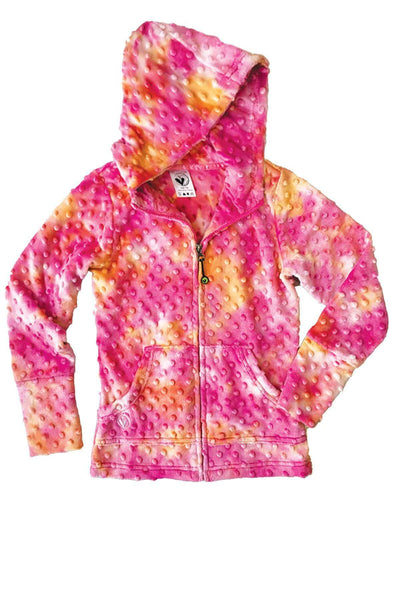 Childrens Minky Bubble Hoodie - Fuchsia Orange Tie Dye by Limeapple