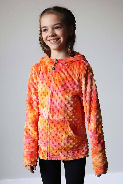Girls Soft Minky Bubble Hoodie - Pink Orange Tie Dye by Limeapple