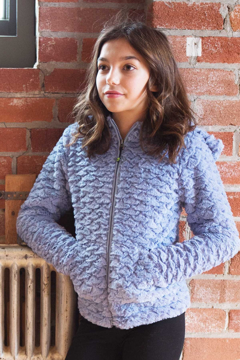 Mermaid Faux Fur Hoodie - Steel Blue