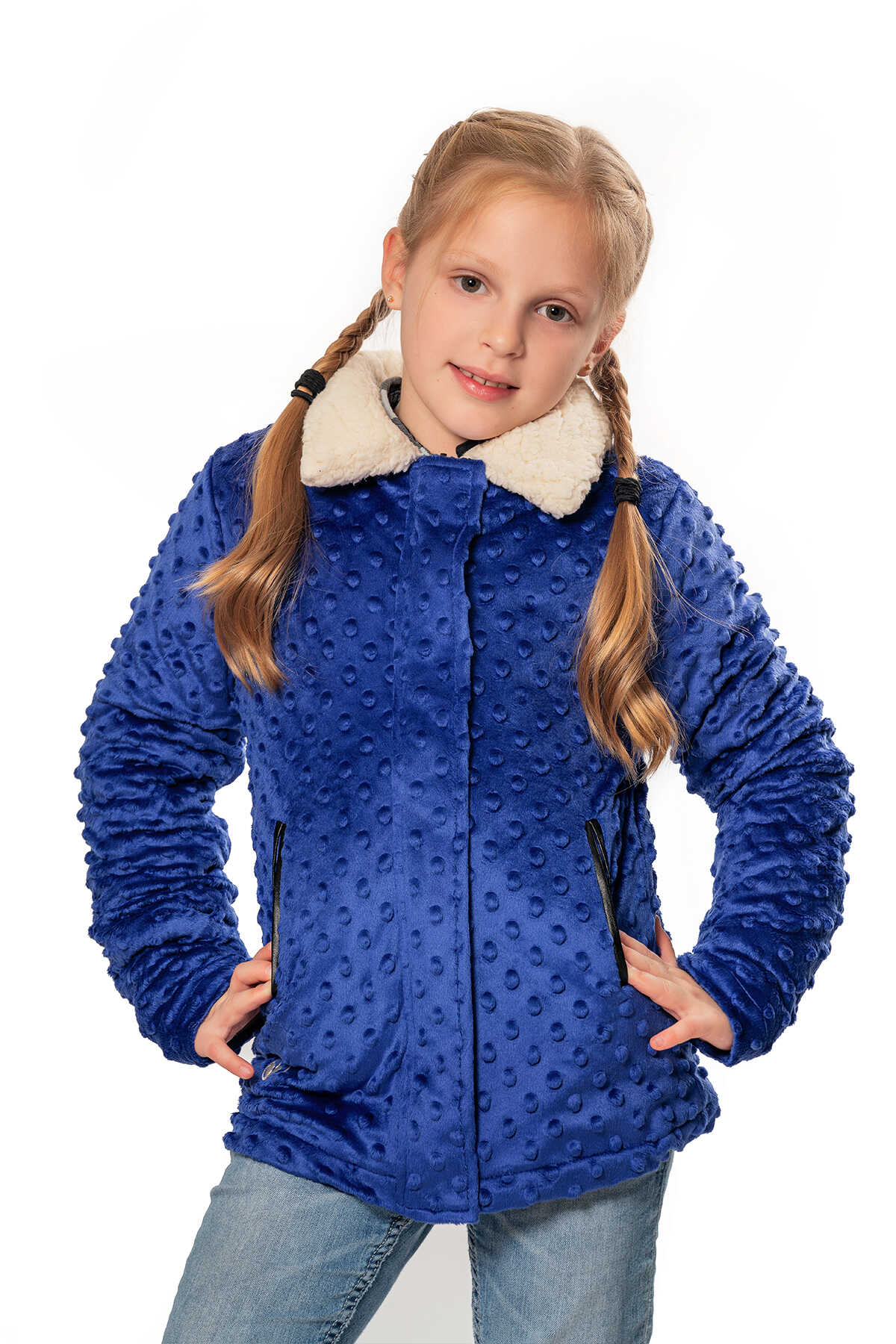 Minky Reversible Bubble Jacket - Cobalt