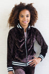 Crushed Velvet Varsity Jacket - Black