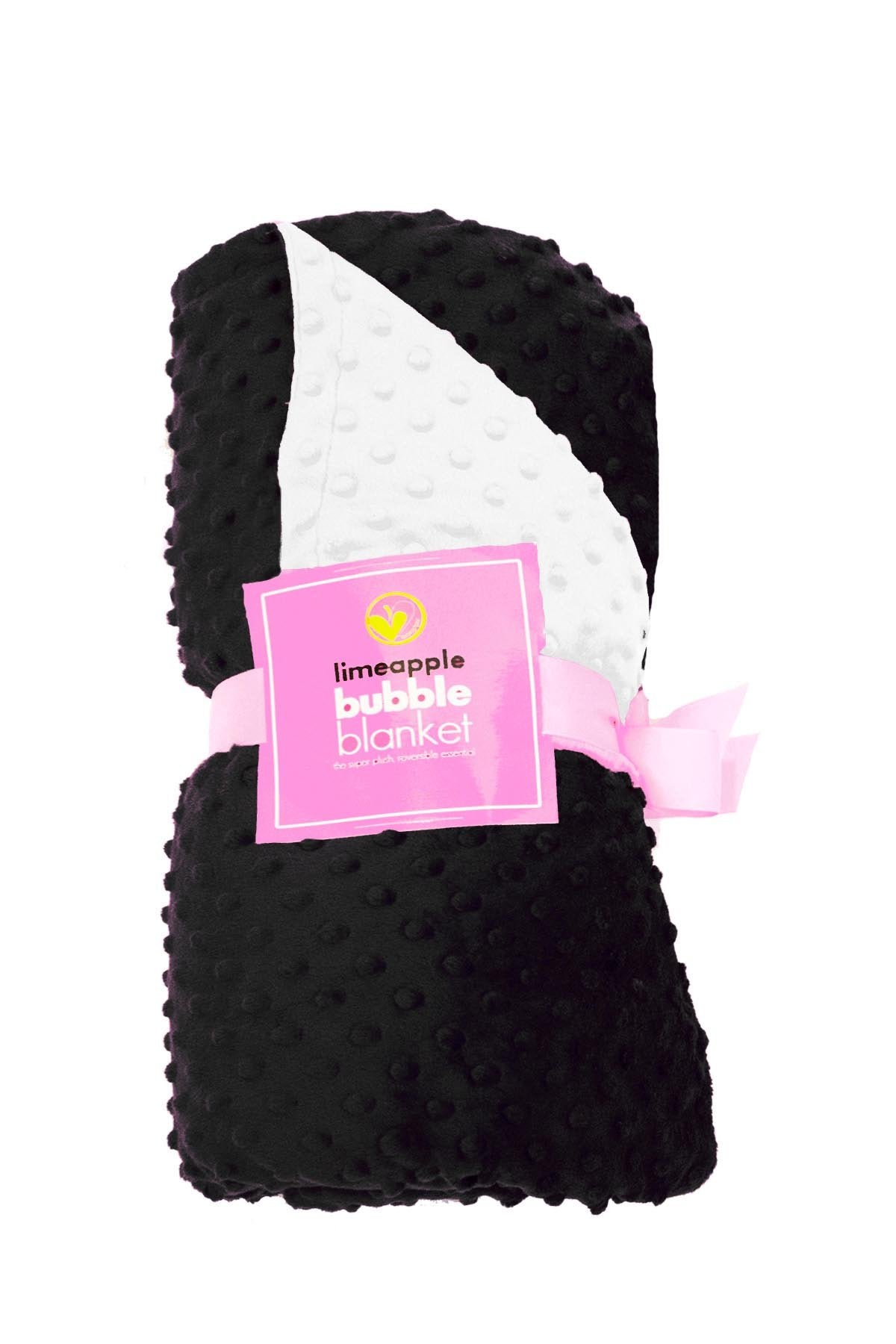 Luxe Minky Super Soft Snuggly Bubble Blanket - Black and Cream by Limeapple