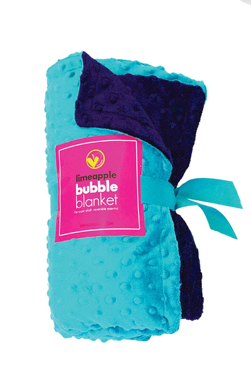 Luxe Minky Super Soft Snuggly Bubble Blanket - Turquoise and Navy by Limeapple