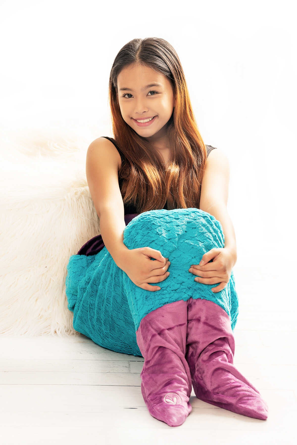 Minky Faux Fur Mermaid Tail Sleeping Bag - Turquoise Orchid