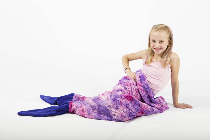 Minky Faux Fur Mermaid Tail Sleeping Bag - Purple Tie Dye