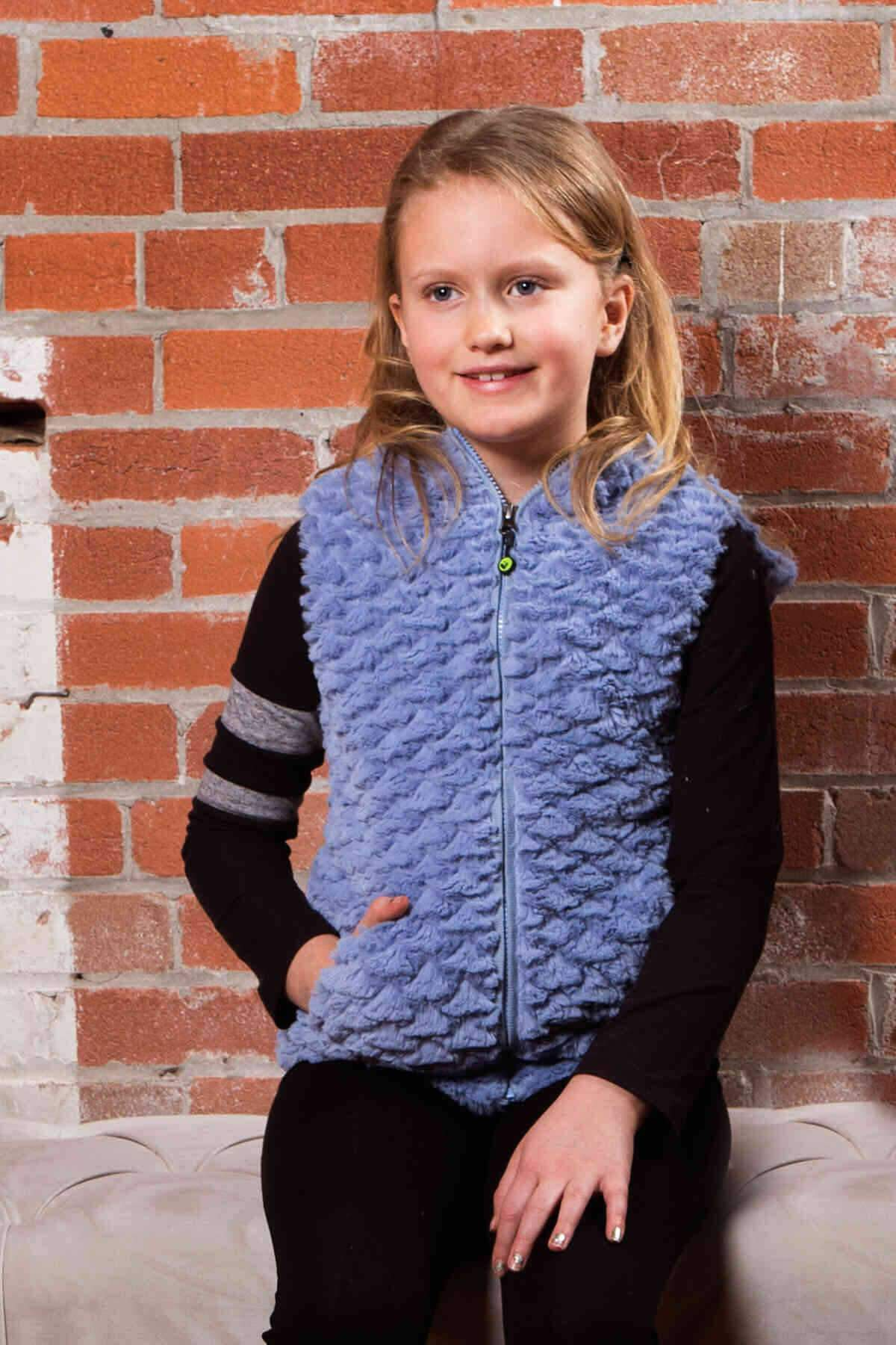 Heart Faux Fur Vest - Steel Blue