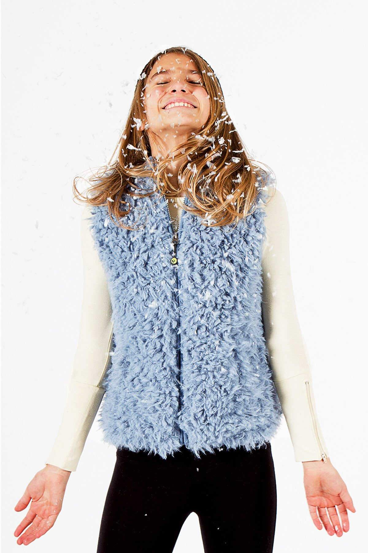 Faux Fur Vest - Steel Blue