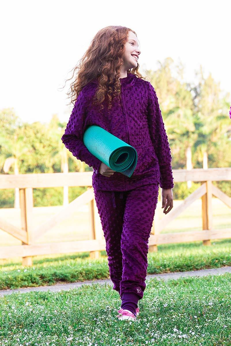 Minky Bubble Jogger Pant - Dark Purple