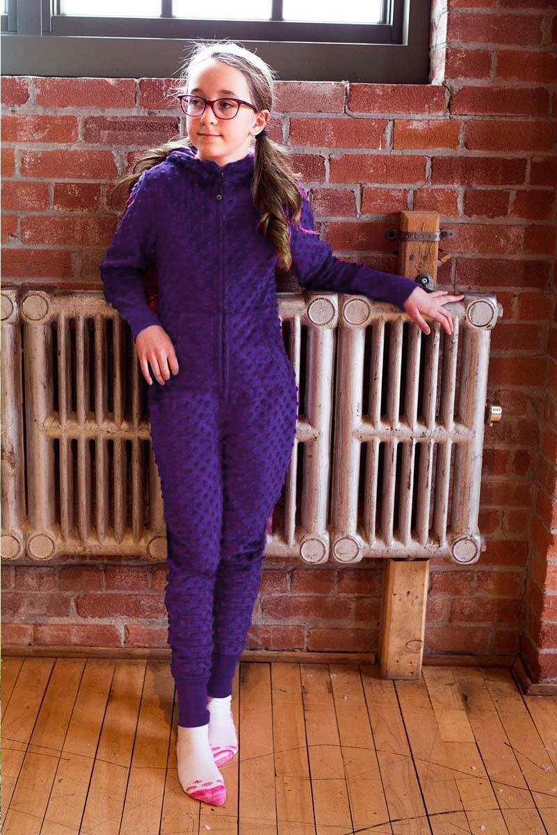 Minky Bubble Onesie- Dark Purple