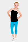young blonde girl with a pony tail posing with her hands on her hips while wearing turquoise athletic capris leggings