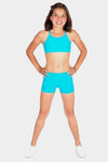 Seamless Activewear 2 Pack - Turquoise Half Top + Mini Shorts Set