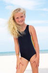 Young girl Wearing Limeapple's Black One Piece Swimsuit on the beach