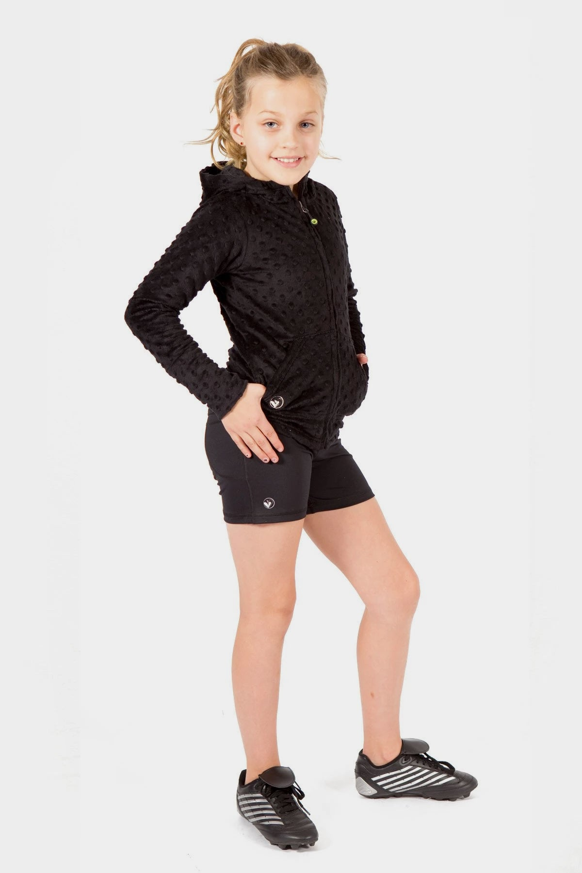 Black Minky Bubble Hoodie + Active Sporty Shorts Set.