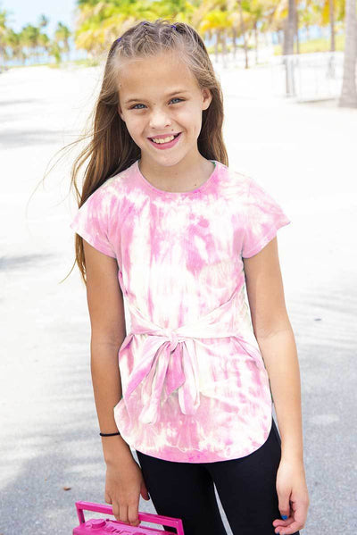 BRUNA - PINK TIE DYE BOW TOP