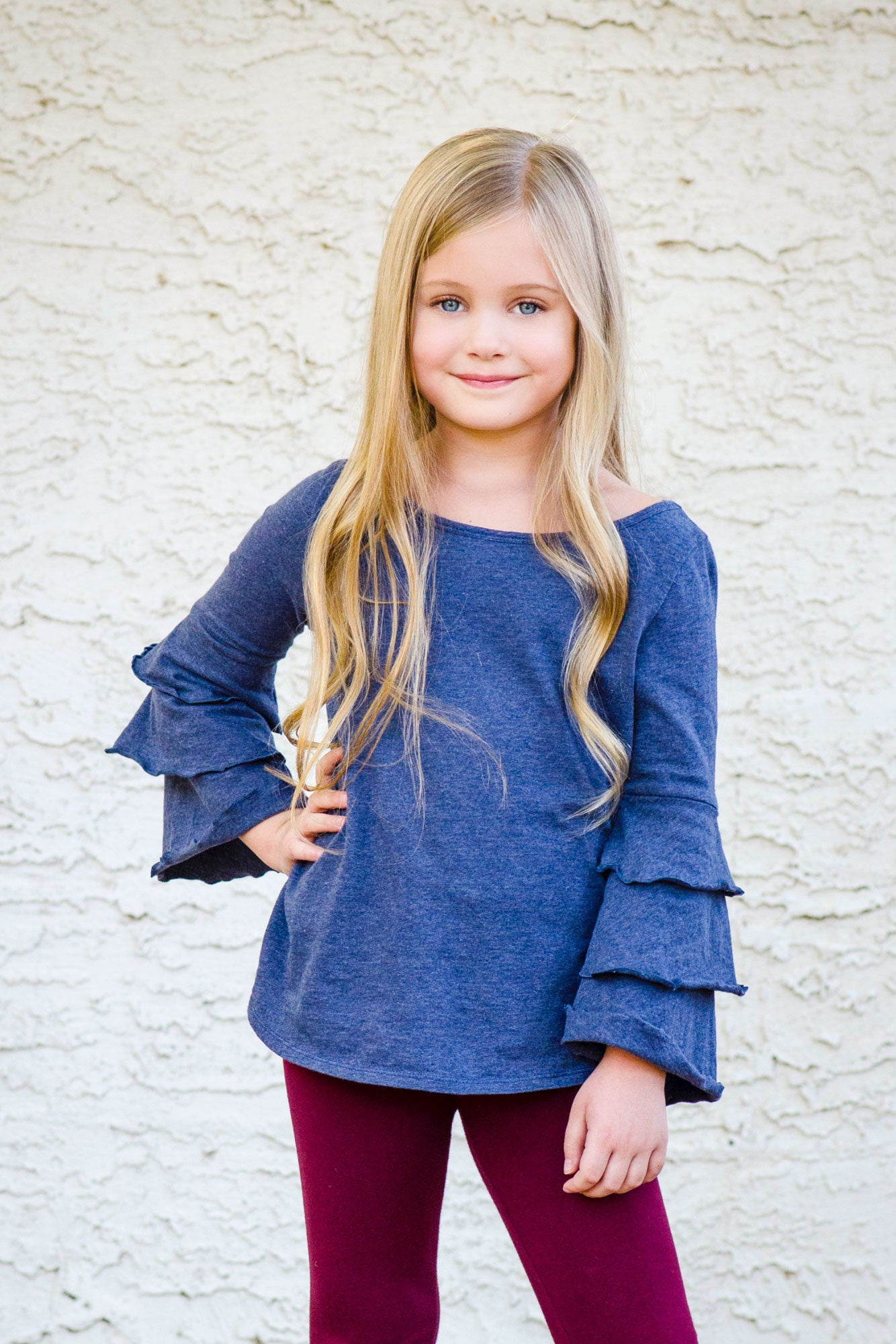 Dayani - Blue Grey Ruffle Long Sleeve Top.